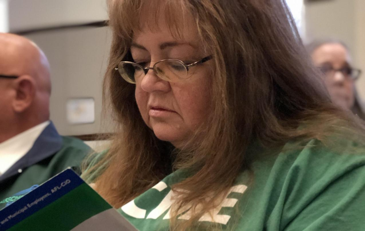 AFSCME Local 4041 member Deborah Hinds at a hearing in support of collective bargaining rights SB135