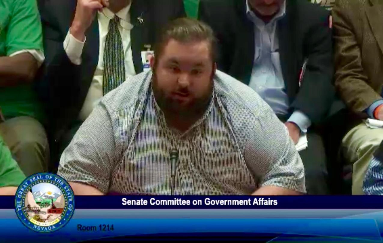 AFSCME Local 4041 member Timothy Provost at a hearing for SB135 in support of collective bargaining rights for state employees