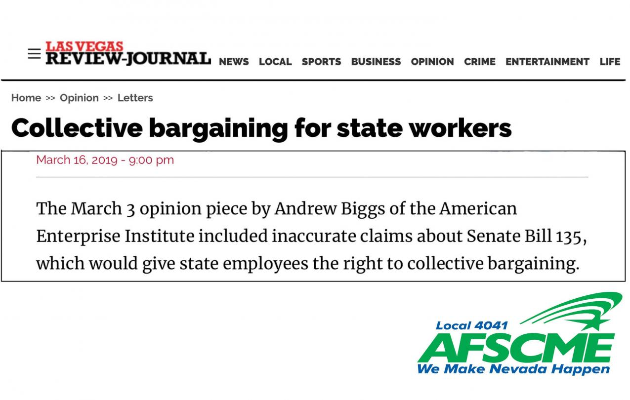 Las Vegas Review Journal Letter to the Editor Collective Bargaining AFSCME Nevada Local 4041