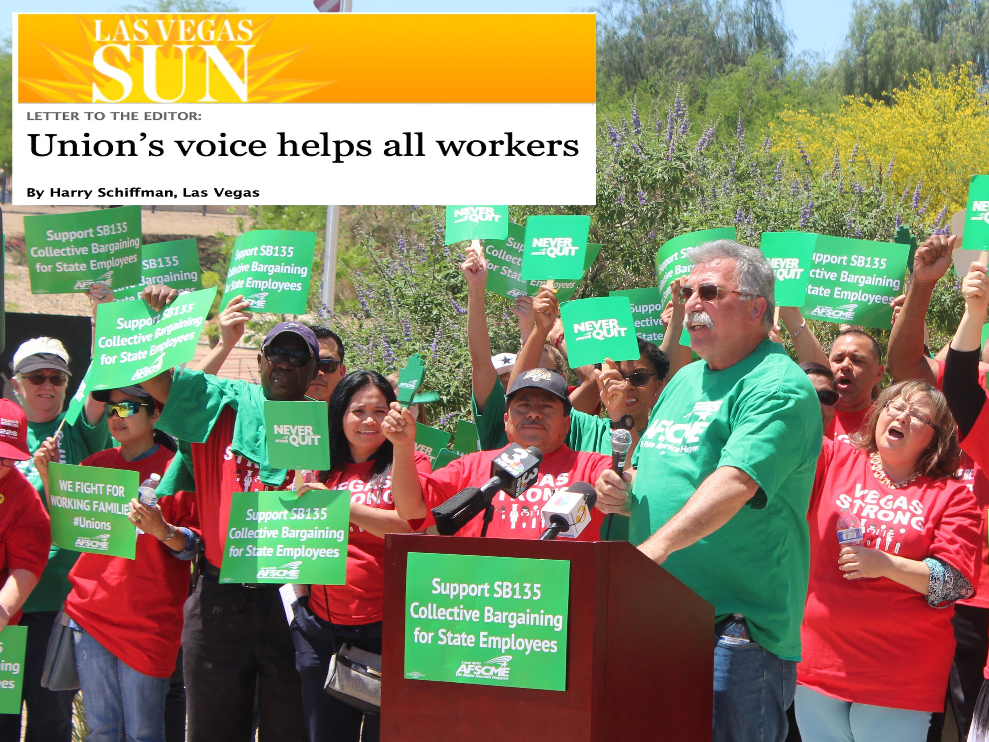 AFSCME Local 4041 president Harry Schiffman Letter to the Editor Las Vegas Sun