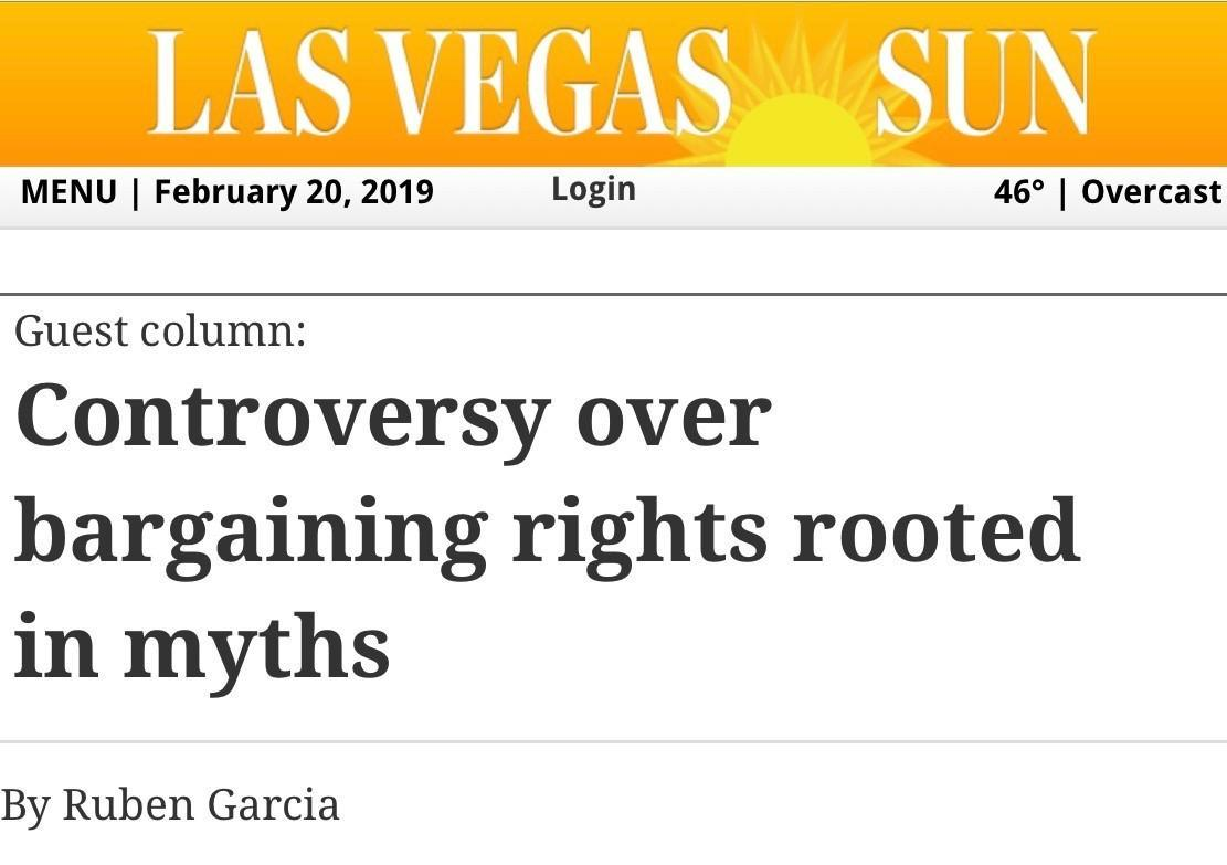Las Vegas Sun Op-Ed by UNLV Law Professor Ruben Garcia on Collective Bargaining for Nevada State Employees