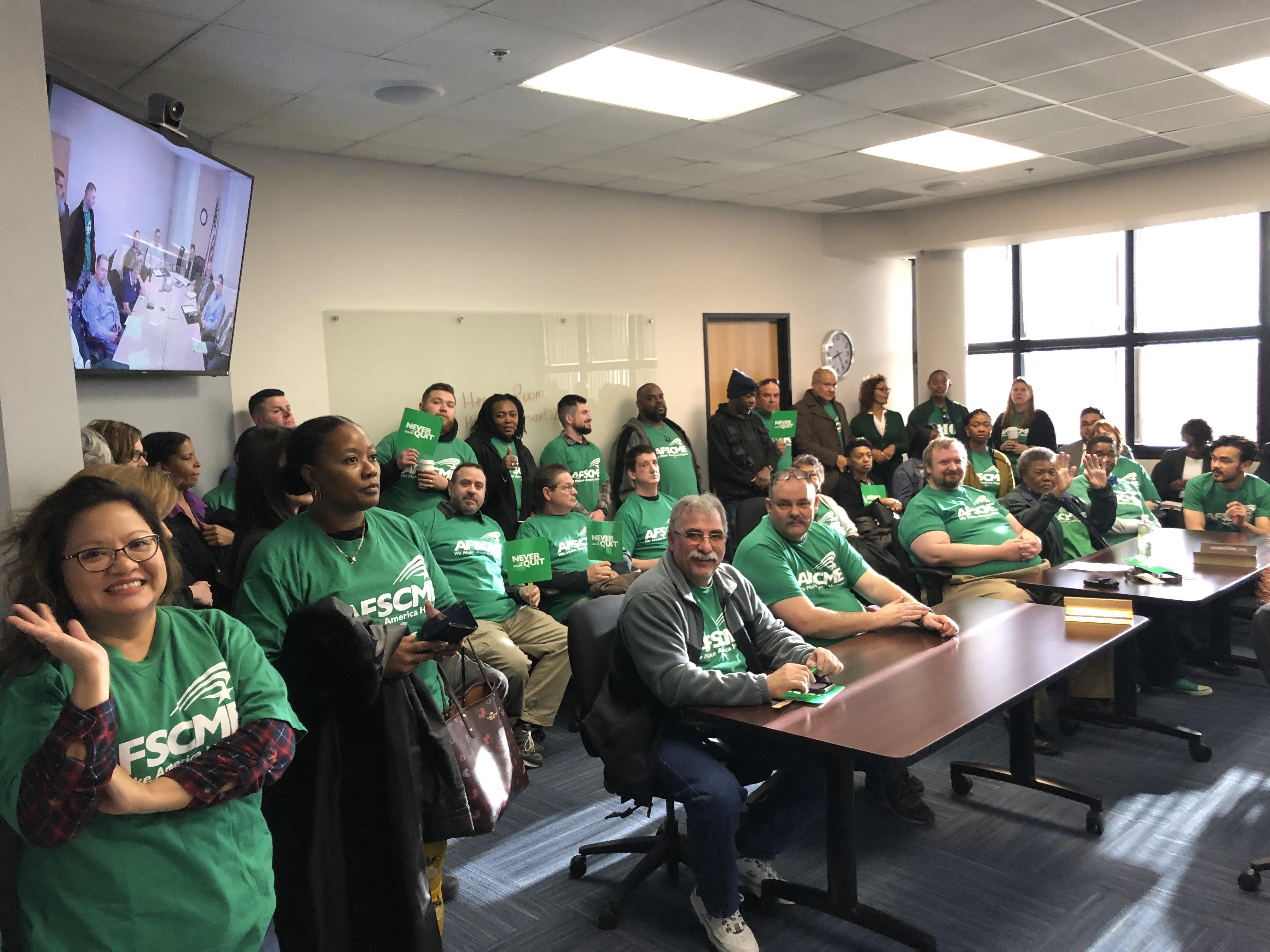AFSCME Local 4041 members pack a hearing room at the Government Employee-Management Relations Board