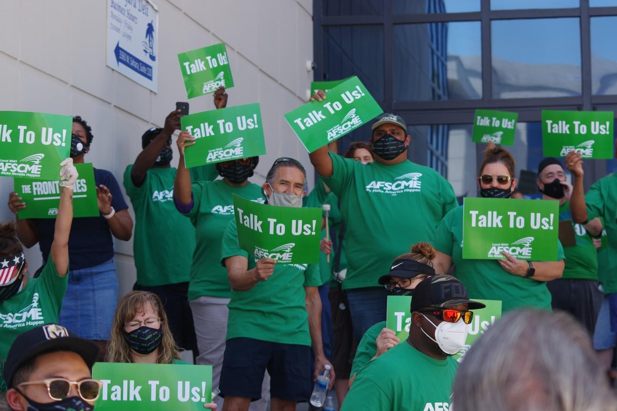 AFSCME Local 4041 Members rally over the summer against budget cuts