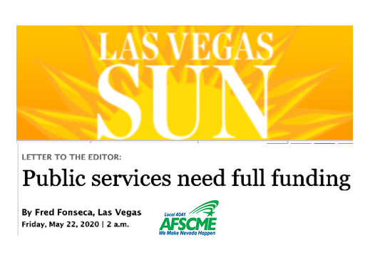 Las Vegas Sun Letter to the Editor by Fred Fonseca