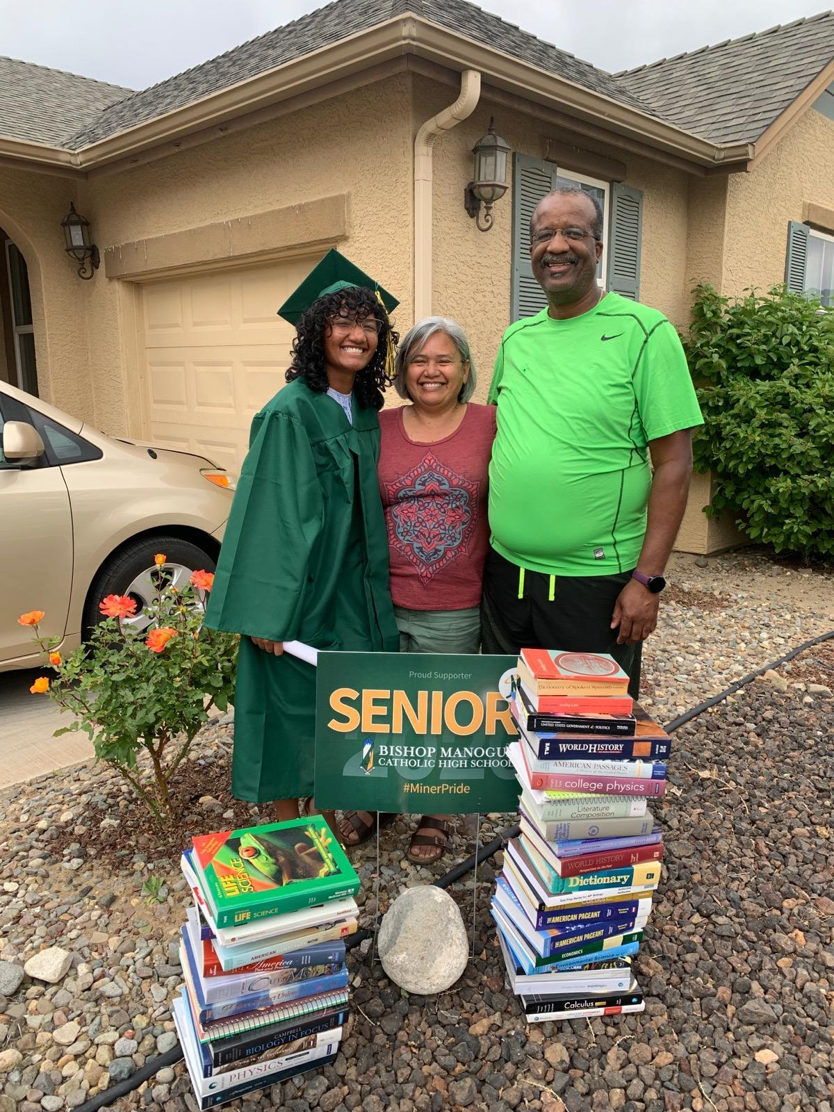 AFSCME Local 4041 members Andre and Daphne DeLeon, and their daughter Maali, a 2020 AFSCME Family Scholarship winner