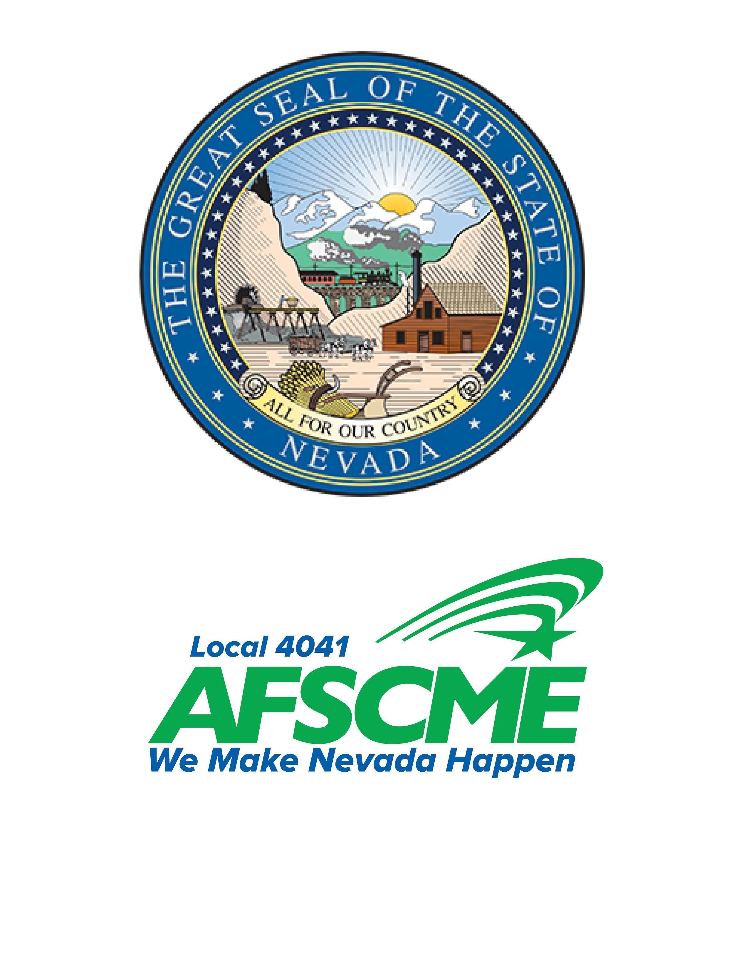 Nevada state seal and AFSCME Local 4041 logo