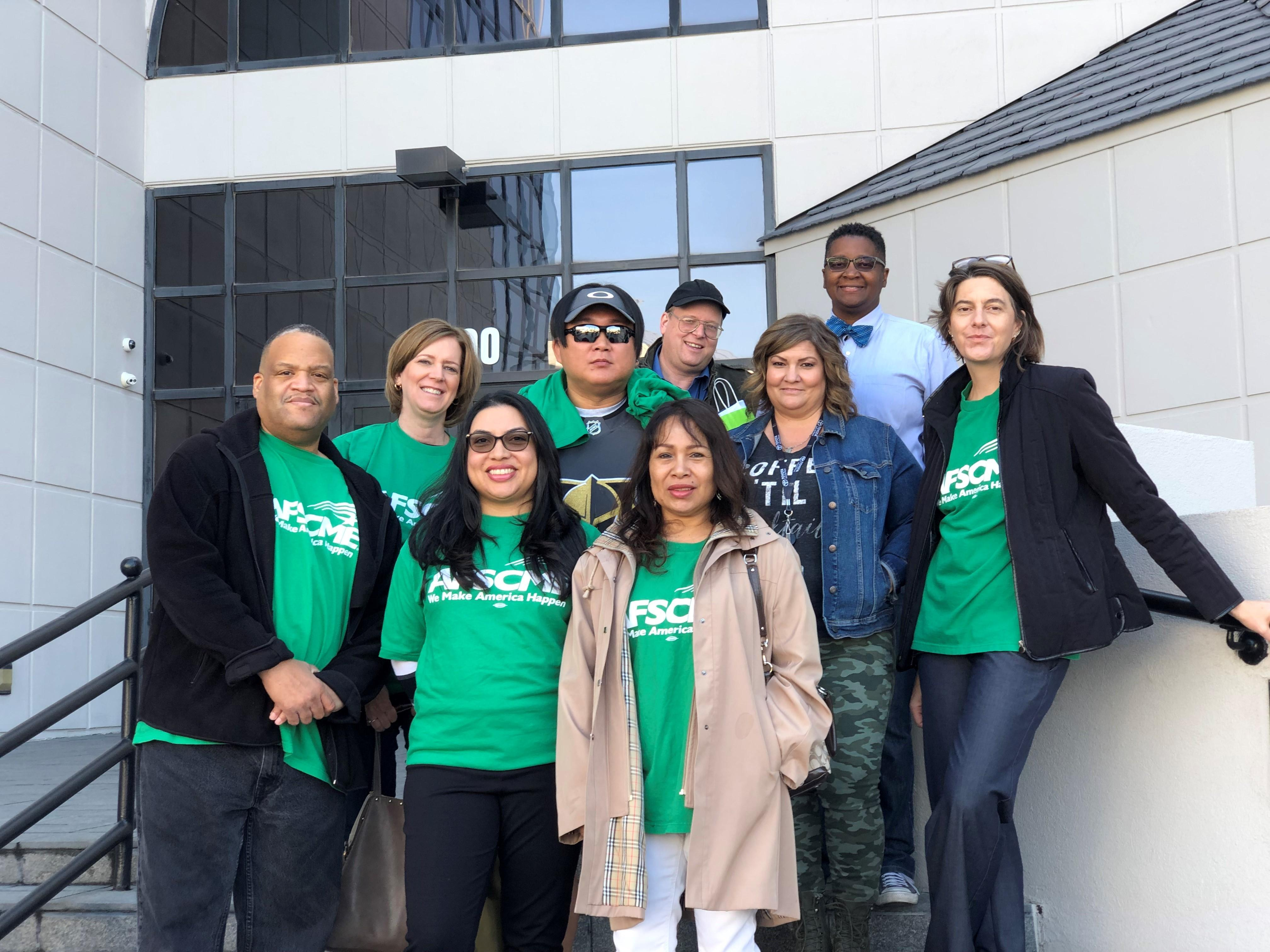 AFSCME Local 4041 members of the professional health care unit file for collective bargaining recognition with the state of Nevada.