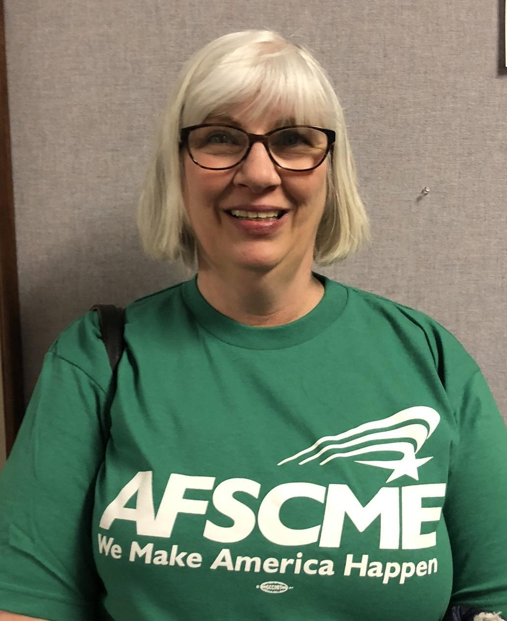 AFSCME Local 4041 member Valerie Osborn in support of SB135 collective bargaining rights for state employees